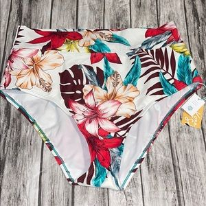 Kona Sol White Floral Ribbed Bikini Bottom Large